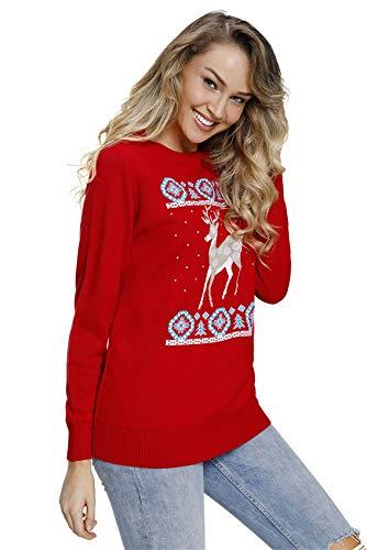 Pullover Festival Cuello Jersey Manga Christmas Top Larga Ojos Reno Sweater Suéter Snow Rojo Redondo BF558wtxq