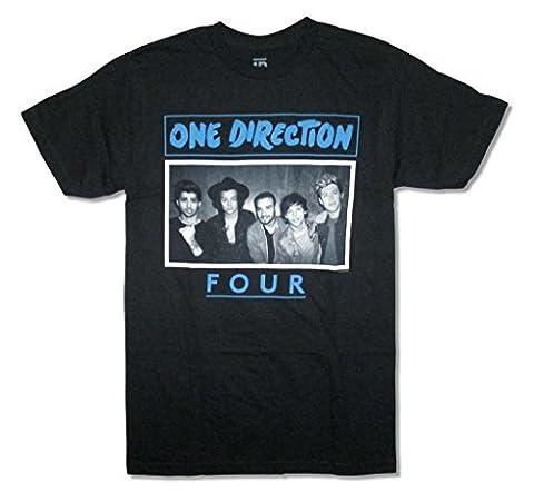 One Direction Four Band Image Adult Black T Shirt (M) (1 Direction Tour Shirt)