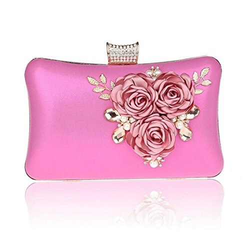 EPLAZA Women Large Capacity Flora Evening Clutch Bags Wedding Party Purse Handbags Wallet (rose red) Belle Rose Purse