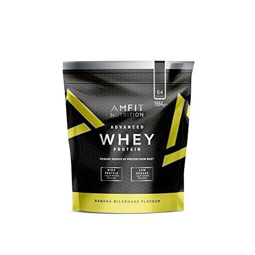 🥇 Marca Amazon – Amfit Nutrition Proteína Whey de suero de leche sabor batido de plátano