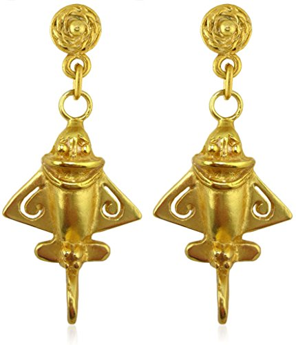 24k Golden Earrings (Pre-Columbian 24k Gold Plated Ancient Aliens Aircraft/Golden Jet /Gold Flyer Dangle Earrings)