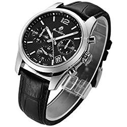 Men Luminous Chronograph Waterproof Synthetic Sapphire Leather Quartz Watch