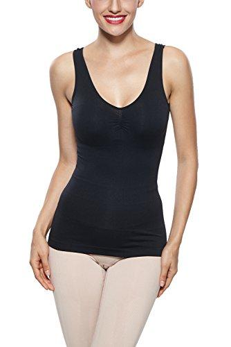 - Khaya Women's Super soft Camisole Seamless Shapewear Basic Tank Top, Black, Medium