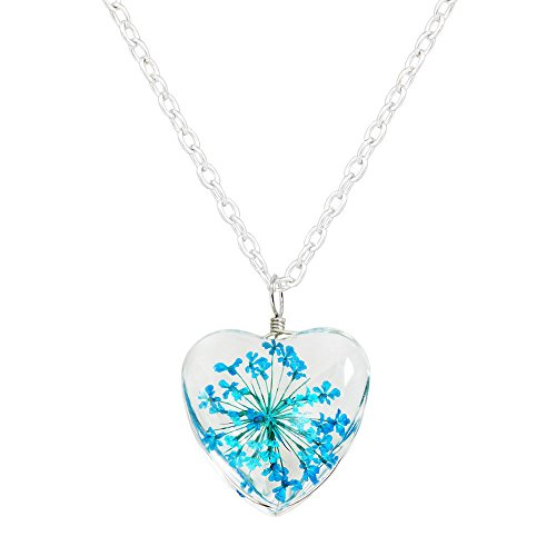 China Loving Cup (Miweel Heart Surface Dried Pressed Real Flower Transparent Resin Crystal Pendant Necklace)