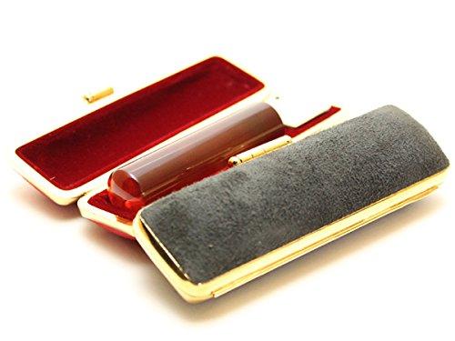 「琥珀樹脂印鑑12.0mm×60mmスウェードケース(ブラック)付き」 横彫り 古印体  横彫り×古印体 B010CJKA76