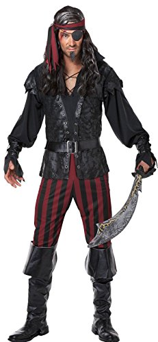 California Costumes Men's Ruthless Rogue Pirate Buccaneer Swashbuckler, Black/Red, (Male Pirate Costume)