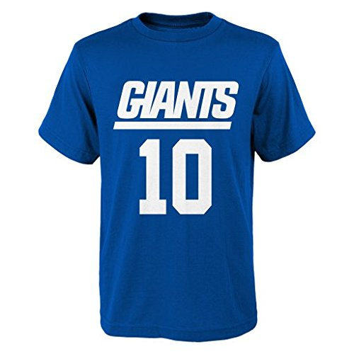 NFL New York Giants Eli Manning # 10 Youth Boys 8-20 Name & Number Short Sleeve Tee, Large (14/16), Royal