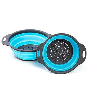 Enko Passoire Pliable Silicone Vert /Économisez de lespace de Cuisine 2 Tailles Facile /à Nettoyer y Compris 8 Pouces et 9,5 Pouces. Portable Panier de Fruits Colander Set
