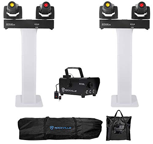 2) Chauvet Intimidator Spot Duo 155 LED DMX Moving Head Lights w/Totem Stands