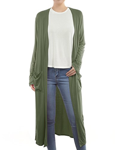 (BH B.I.L.Y USA Women's Side Split Front Pockets Open Front Long Cardigan Olive Small )