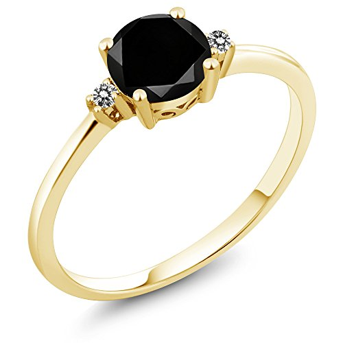 10K Yellow Gold Engagement Solitaire Ring set with 1.08 Ct Round Black Diamond and White Diamonds (Ring Size - Bands Gold Black Eternity Diamond Yellow