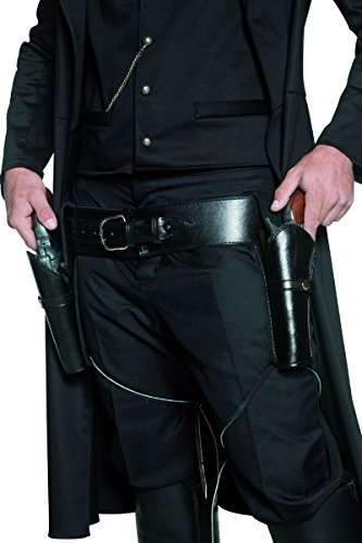 36171 Double Holster Faux Leather Costume Gun Belt -