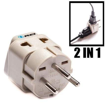 OREI Grounded Universal 2 in 1 Plug Adapter Type H for Israel & more – High Quality – CE Certified – RoHS Compliant WP-H…