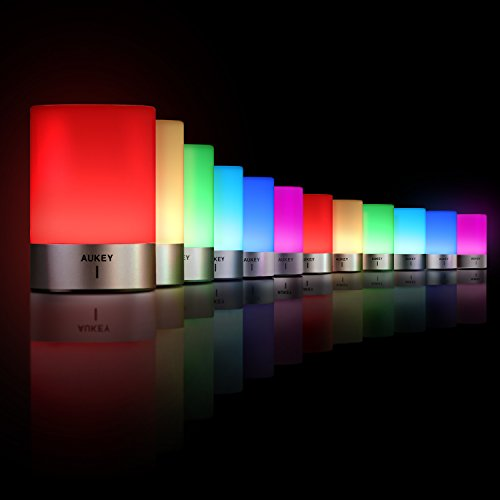 AUKEY Rechargeable Table Lamp with Dimmable Warm White Light & Color Changing RGB, Touch Lamp for Bedrooms