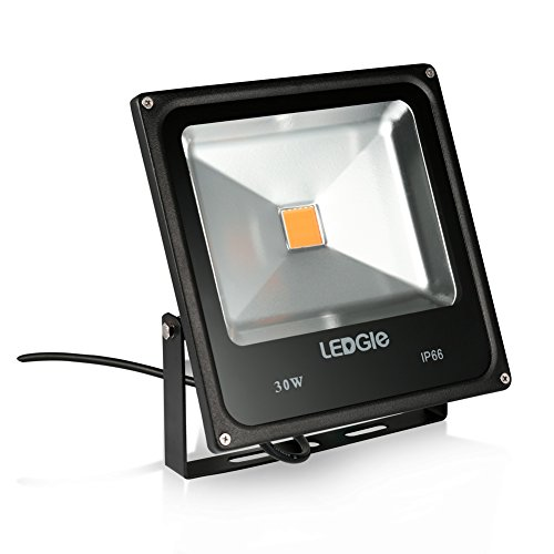 LEDGLE 30W LED Flood Light, IP66 Waterproof, 2000lm, 75W Traditional HPS Bulbs Equivalent Outdoor Super Bright Security Lights, 3000K Warm White, Floodlight Landscape Wall Lights