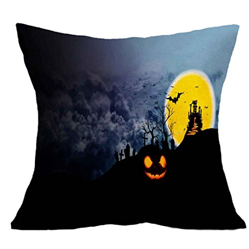 [Charberry Halloween Square Pillow Cover Cushion Case Pillowcase Zipper Closure (C)] (Horror Makeup Value Kit)