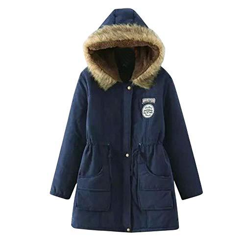 HTDBKDBK Women Winter Fashion Thicken Jacket Cotton Coat Hooded Outwear Anorak Parka Hoodie Jackets Ideas Navy ()