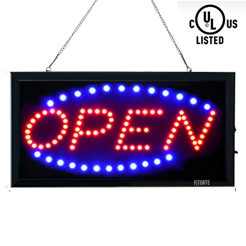 Open Sign, FITNATE LED Business Open Sign Advertisement Board Electric Display Sign, 2 Modes Flashing & Steady Light for Business, Walls, Window, Shop, Bar, Hotel ()