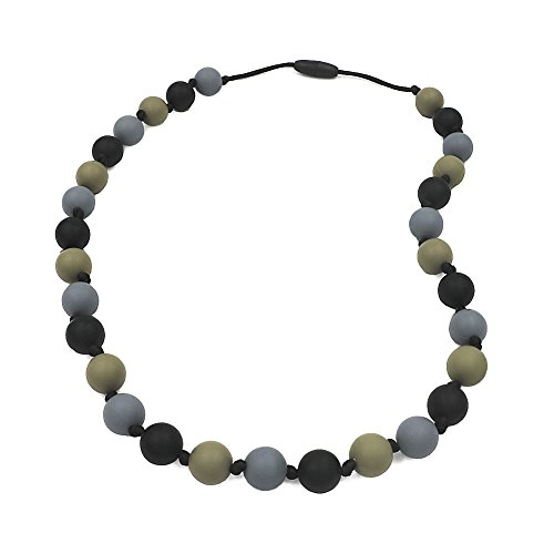 Chew Necklace for Sensory, Oral Motor Aide Autism Chewable Jewelry for Boys - Calms Kids and Reduces Biting/Chewing/Fidgeting Silicone Chewy Toys (Black/Grey/Green) by V-TOP