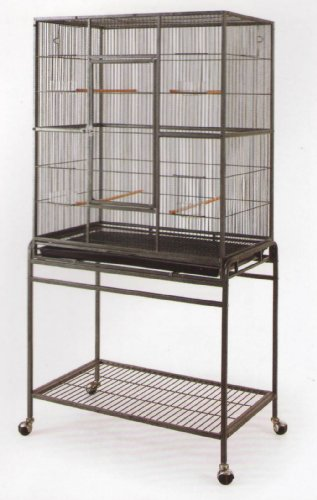 Pet Products Large Wrought Iron Flight Cage with Stand #15 Black Bird Cage, 32-Inch by 19-Inch by 64-Inch, My Pet Supplies