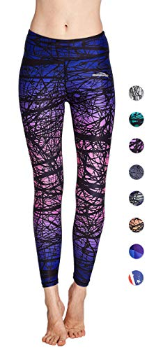 COOLOMG Women's Leggings Yoga Long Pants Compression Drawstring Running Tights Non See-Through Purple Forest Adults Small(Youth ()