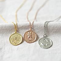 Personalized Zodiac Coin Necklace, Zodiac Sign Disc Necklace, Zodiac Jewelry, Horoscope Necklace, Celestial Medallion, Constellation Necklace, Birthday Gift Trendy Gift 200