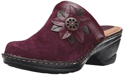 softspots Women's Lara Clog,Bordeaux Red Velour Suede,US 10 M