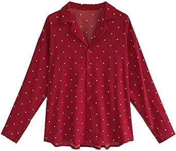 SEWORLD Cárdigan de Mujer Camiseta De Manga Larga con Estampado De Cuello Redondo Camisa Blusa Top (Negro Rojo, M L XL XXL XXXL XXXXL): Amazon.es: Ropa y accesorios