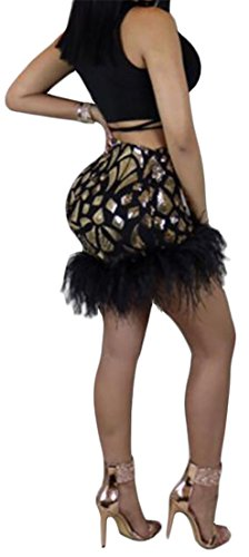 Cromoncent Femmes Sexy Bandage Haut Sequins Taille Robe Club Solide 2pcs Or