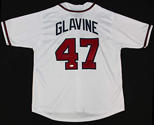 (Tom Glavine Autographed White Atlanta Braves Jersey - Hand Signed By Tom Glavine and Certified Authentic by JSA - Includes Certificate of Authenticity)