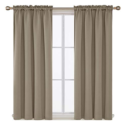 Khaki Blackout Curtains Rod Pocket Curtain Panels Thermal Insulated Curtains for Bedroom 52 W x 63 L Inch 2 Panels