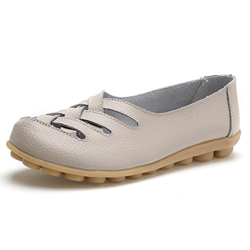 Women's Leather Loafer Casual Flat Shoes Rubber Sole Shoes (7, Beige)