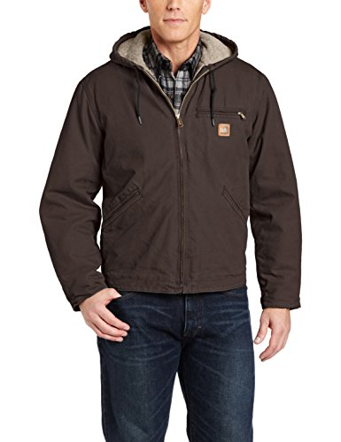 Carhartt Men's Big & Tall Sherpa Lined Sandstone Sierra Jacket J141,Dark Brown,XXX-Large