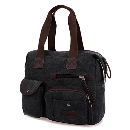 Chou Tiny Unisex Vintage Lady Leisure Man Canvas Tote Zipper Duffel Bag Crossbody Bag Black Sport