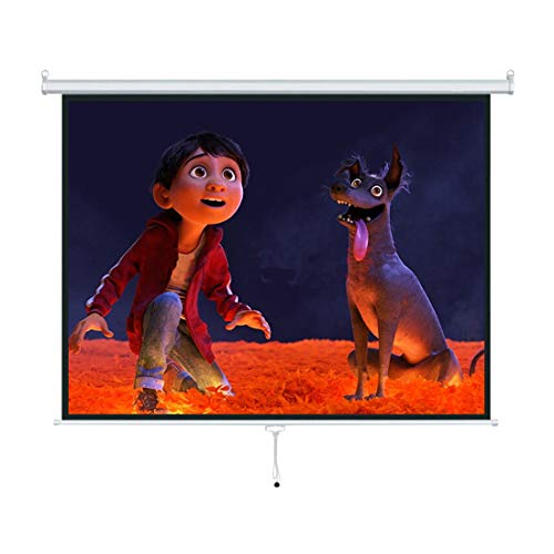 """Kosycosy 120"""" Projector Screen Diagonal 1:1 HD Projection Manual Pull Down Portable Foldaway Movie Home Theater Projector Movies Outdoor Screen (MPD 120"""" 1:1)"""