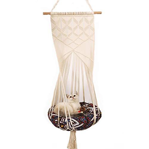 DALEI Fringed Makramee Cat Hammock Tapisserie mit waschbarem Bett für Katze