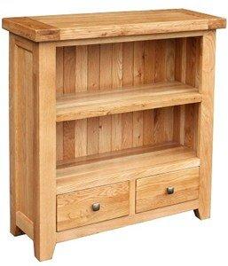Devon Oak Low Bookcase With  Drawers Dev