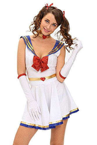 [Booty Gal Womens Sexy Cute 5pcs Anime Sailor Heroine Costume (L, White)] (Costumes Starting With L)