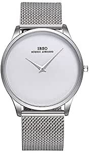 IBSO White Silver Stainless Steel Unisex Dress Watch, IBSO-2219SS