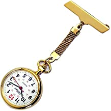 NW-Pro Lapel Nurse Watch - Large White Dial - Water Resistant - Braided - Gold Tone
