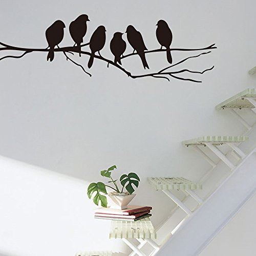 Pakdeevong shop Wall decals, removable decals, black birds, tree branches, decorative arts, home wall (Heater Nest Bird)