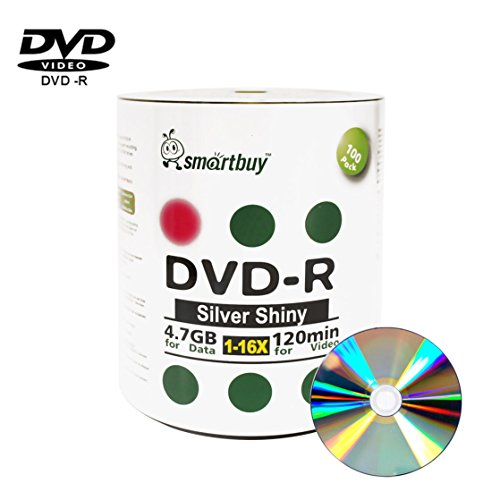 Smartbuy 4.7gb/120min 16x DVD-R Shiny Silver Blank Data Video Recordable Media Disc (100-Disc) by Smartbuy