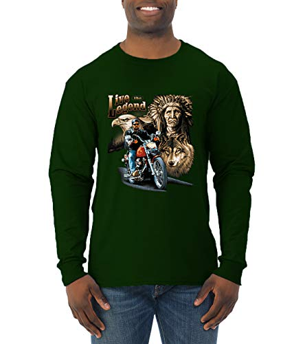 Ride The Legend | Motorcycle USA Wolf | Mens American Pride Long Sleeve T-Shirt, Forest Green, 3XL
