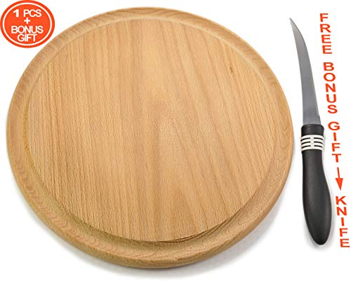 Round pizza board, chopping board, cutting board, wooden presentation serving platter & tray for snacks, bread, cheese, appetizers, bites, sandwiches, tartlets, wraps, crostini, Ø 10 inches, - Round Cheese Snacks