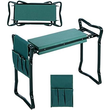 Folding Garden Kneeler And Seat With Bonus Tool Pouch JQstar Portable Portable Garden Stool With EVA Kneeling Pad Handles Green