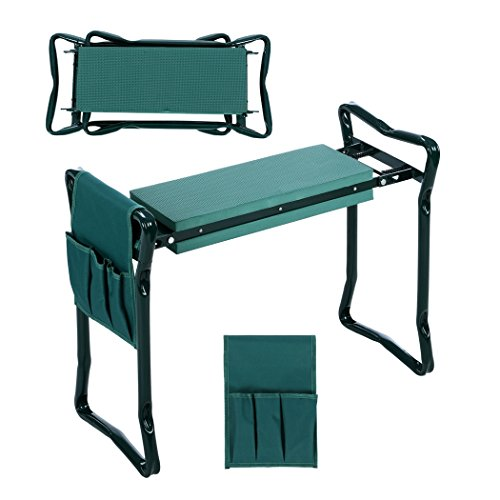 Folding Chair Seat Pad - Folding Garden Kneeler and Seat with Bonus Tool Pouch, JQstar Portable Portable Garden Stool With EVA Kneeling Pad Handles (Green)