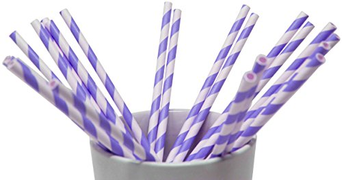 Made in USA Pack of 150 Biodegradable Purple Stripes Paper Drinking Straws (FDA-approved, Non-toxic, BPA-free)