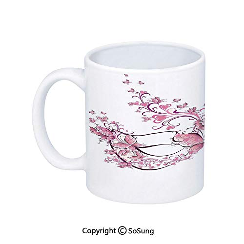 Masquerade Coffee Mug,Masks Carnival Dress Centuries Old Tradition of Venice Theme Design Print,Printed Ceramic Coffee Cup Water Tea Drinks Cup,Pink and White