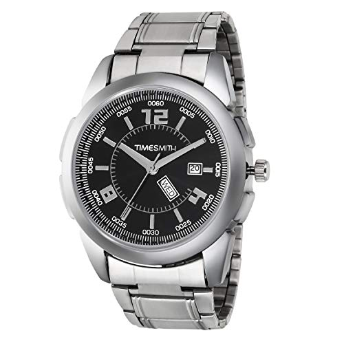 TIMESMITH Analog Day Date Black Dial Silver Stainless Steel Metal Strap Genuine Premium Branded Men's Watches TSC-008heli11qwq1
