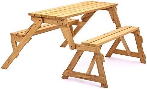 Diseño de 2-in-1 banco de jardín de madera y mesa plegable de - para ahorrar espacio madera muebles para tu diseño cilíndrico y jardines: Amazon.es: Jardín